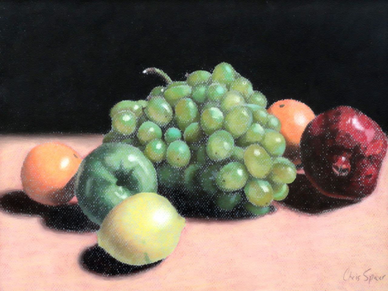Fruit: Oil Pastel Drawing by Christopher Spicer - Still life composition including a grape bunch, apple, orange, lemon, and pomegranate.