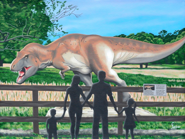 Dinosaur Country: Acrylic Painting by Christopher Spicer