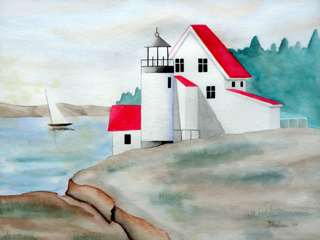 Lighthouse: Watercolor Painting by Christopher Spicer