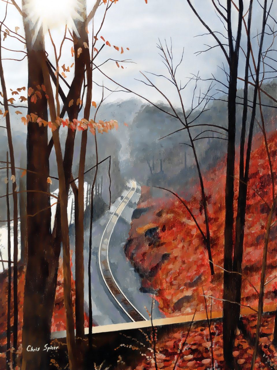 Patapsco Valley: Acrylic Painting by Christopher Spicer - The sun sets behind an autumn vista of bare trees and fallen leaves overlooking a winding railroad as it follows the Patapsco River.