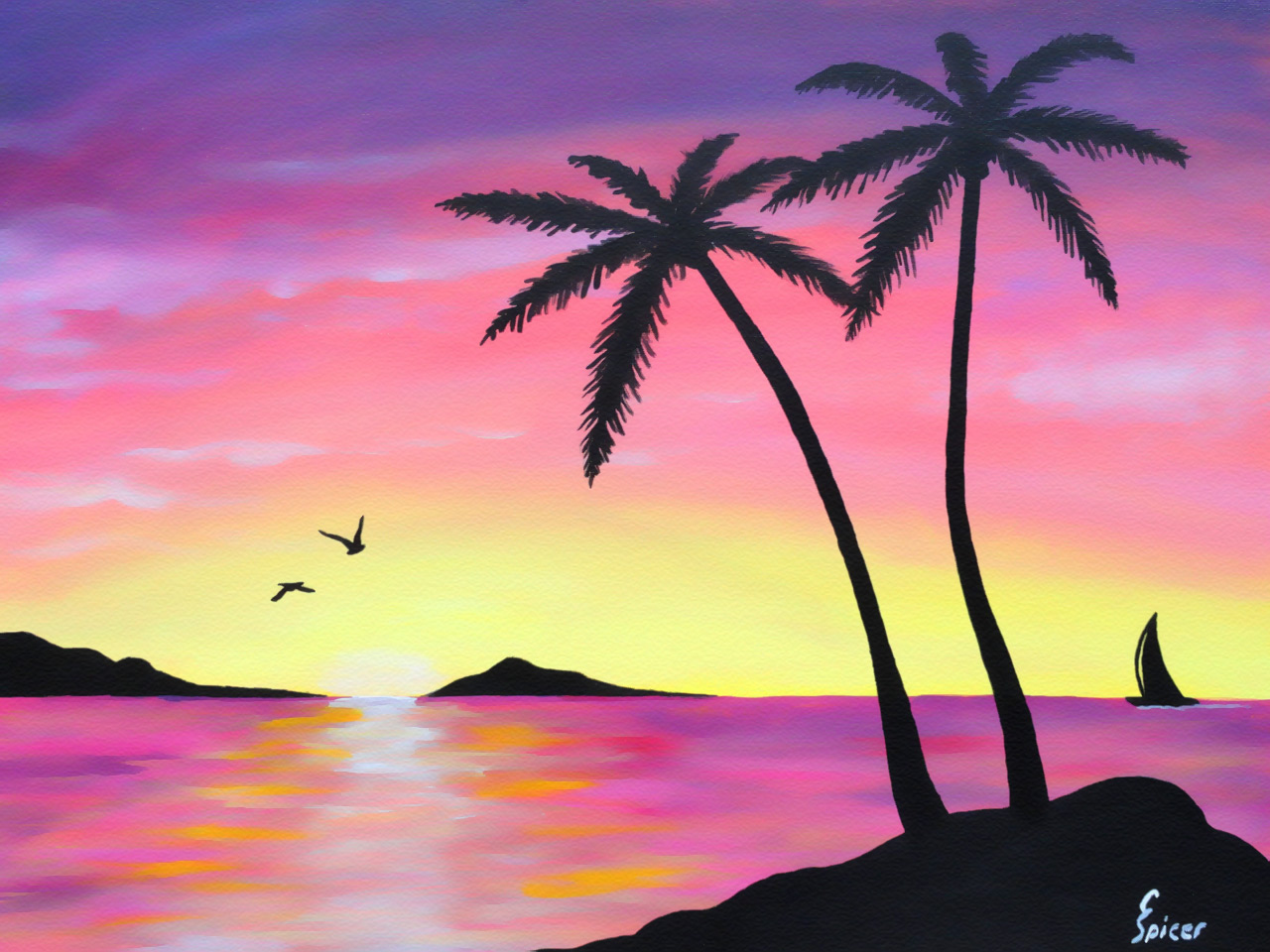Tropical Sunrise: Acrylic Painting by Christopher Spicer - Behind silhouetted palm trees, a sailboat navigates between islands as the sun rises over a tropical paradise.