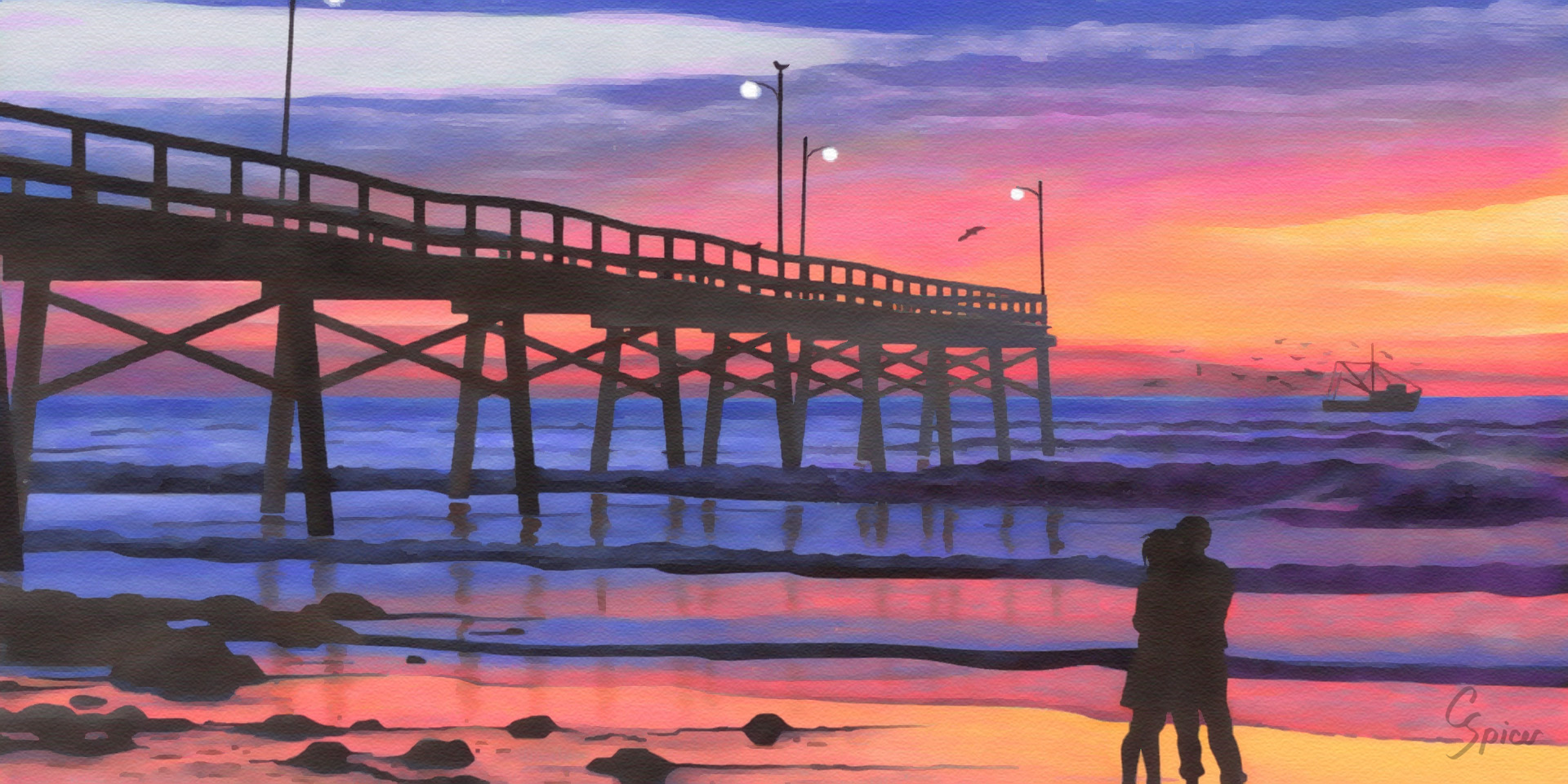 Dusk at the Pier: Acrylic Painting by Christopher Spicer - After a romantic walk on a secluded beach, two lovers embrace next to a fishing pier as the sun sets into a vibrant sky.